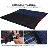 REDCAMP Outdoors Cotton Flannel Sleeping Bag for Camping Hiking Climbing Backpacking, 3-Season Trip Warm S Envelope Sleeping Bags 75 by 33 Inches (Navy Blue with 2lbs Filling)
