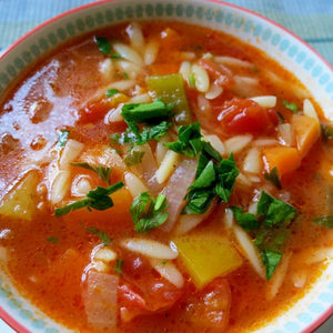 Turkish Vegetable Soup with Orzo; Sehriyeli Sebze Corbasi