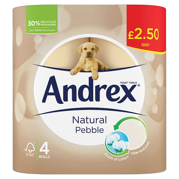 Andrex Narural Pebble Toilet Rolls 4-pack