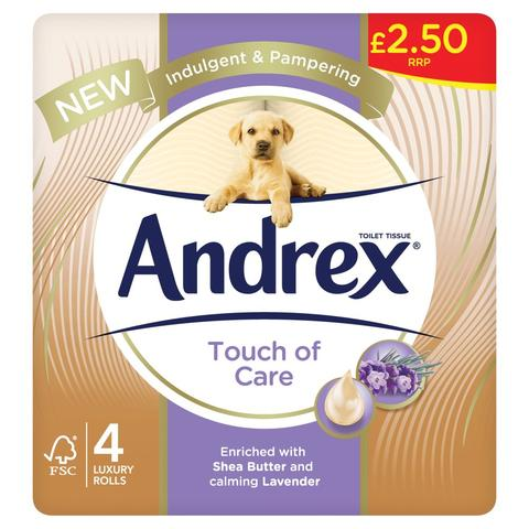 Andrex Touch of Care Luxury Rolls 4-pack