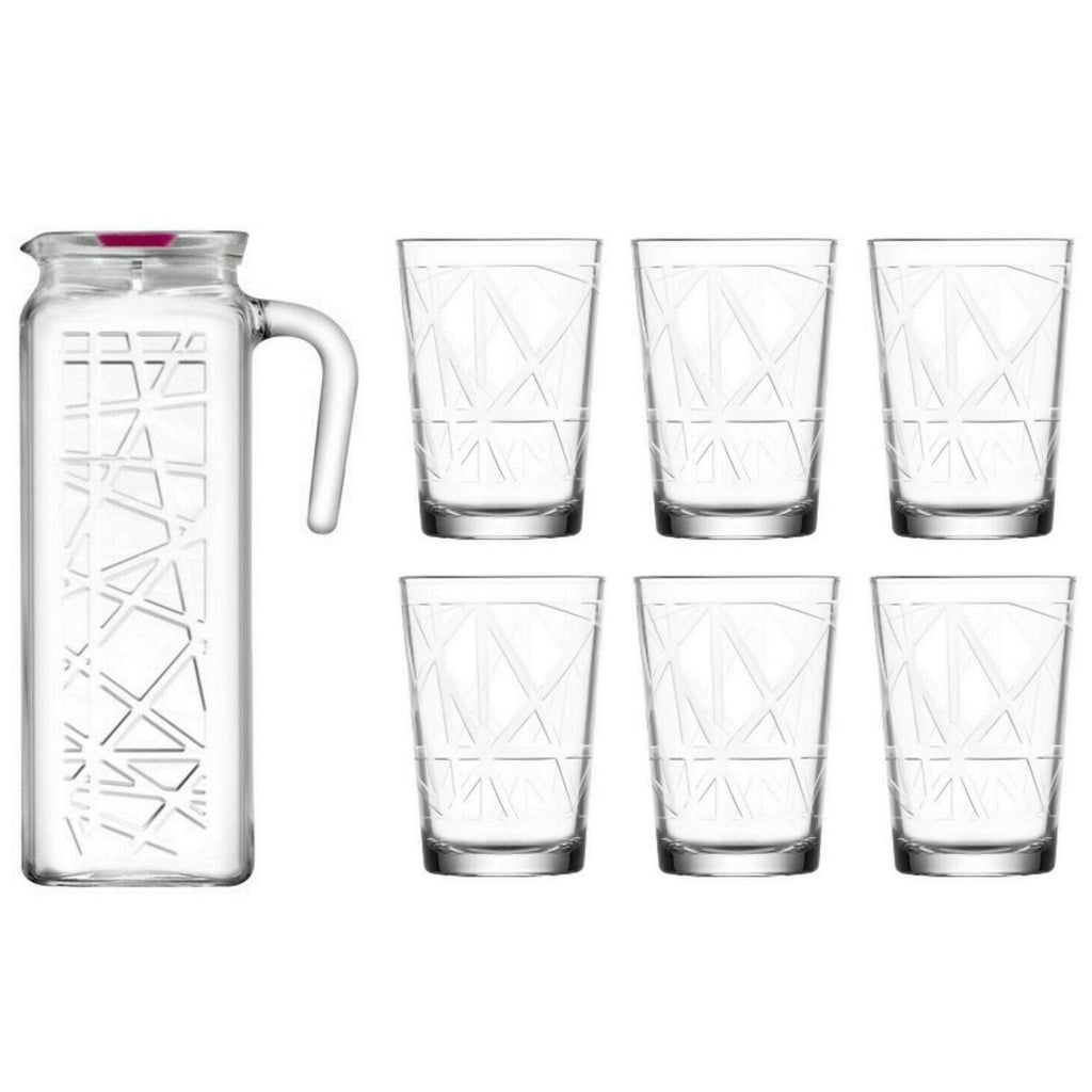 Lav Water Jug and Glasses