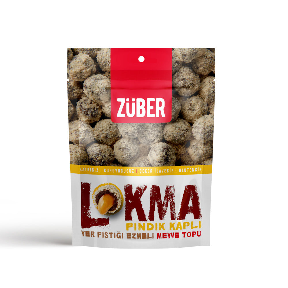 Zuber Hazelnut Coated Peanut Butter Filled Fruit Balls