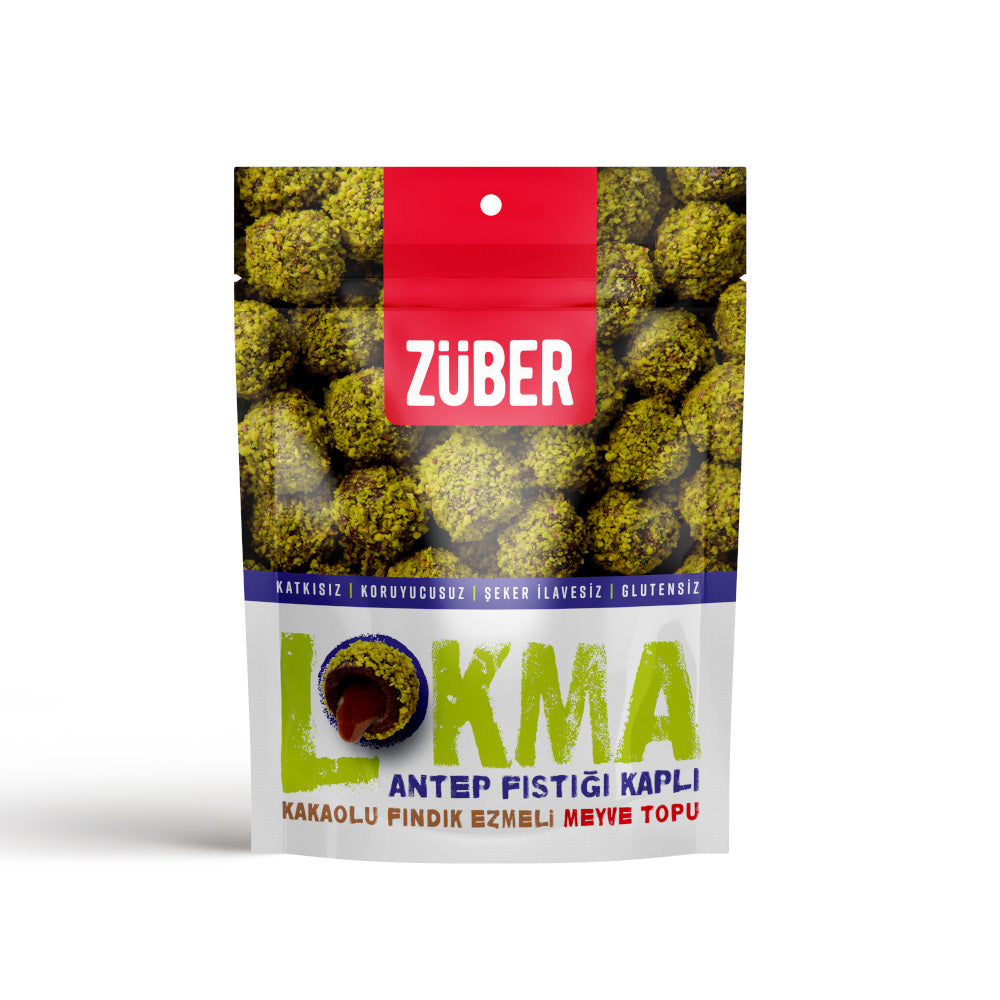 Zuber Pistachio Coated Hazelnut Butter Filled Fruit Balls