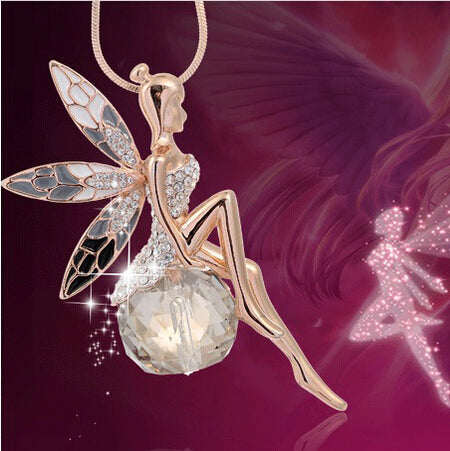 Angel-Butterfly Wings Fairy Rhinestone Crystal Necklace