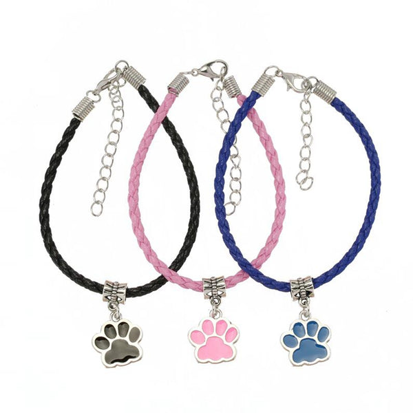 Dogs Paw Footprint Leather Bracelets