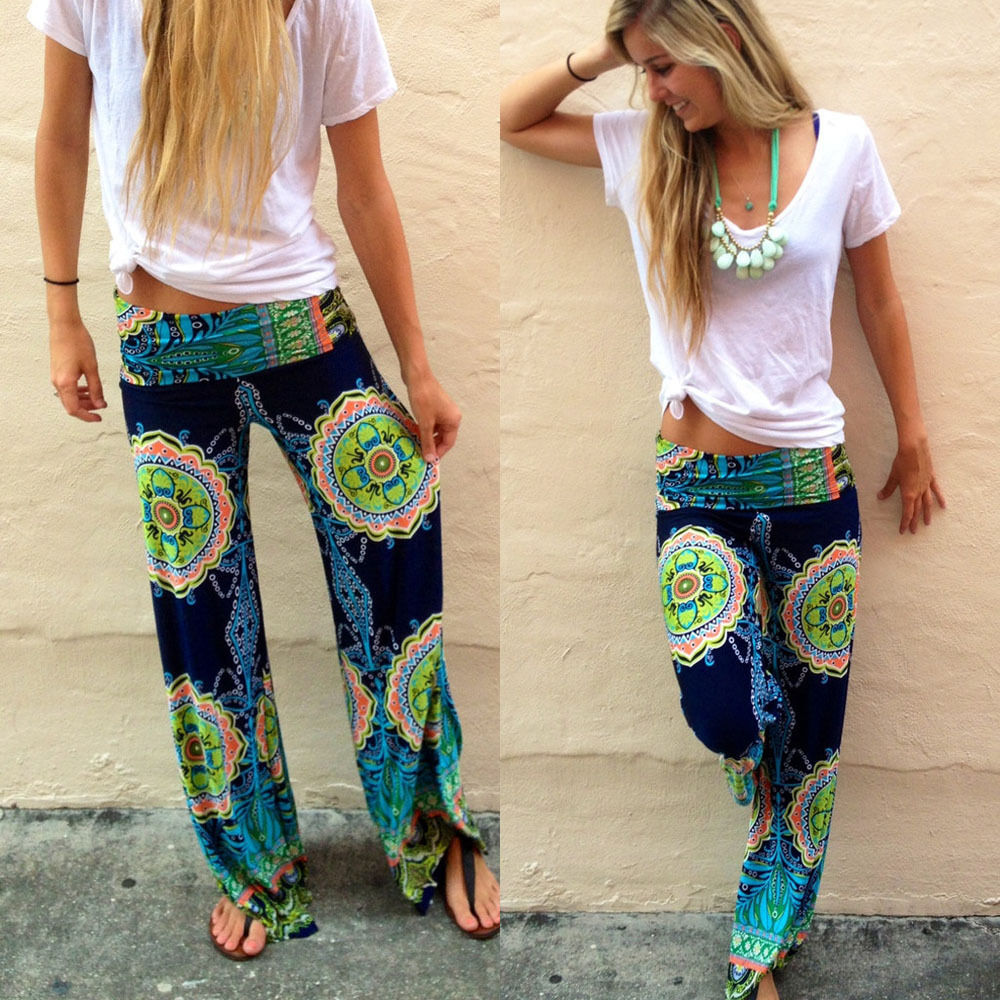 Floral Casual Wide Leg Long Palazzo