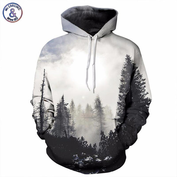 New Fashion 3d Trees Print Hoodies