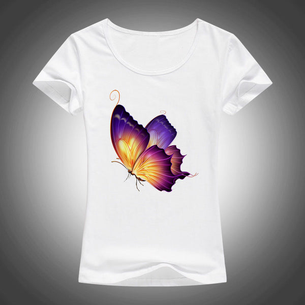 Fashion Butterfly Printed Women T-shirt