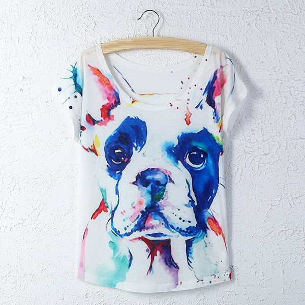 Dog Printed Round Neck Women T-shirt