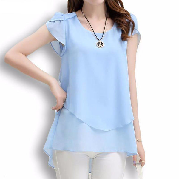 New O-Neck Chiffon Blouse