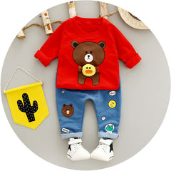 Bear Print Baby Boys Clothing Set
