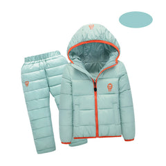 Unisex Winter Hooded Down Jackets+Trousers
