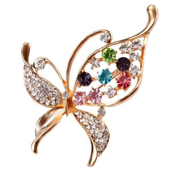 Crystal Rhinestones Assorted Butterfly Brooch
