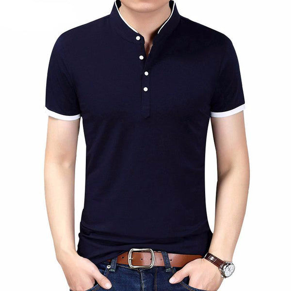 Slim Fit Mandarin Collar T-Shirts