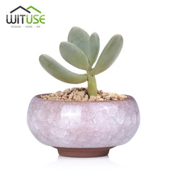 WITUSE Pot De Fleur Bonsai Pots Ceramic Planter Desk Flower Pot Terracotta Decor Glaze Home Mini Flowerpot Garden Ceramica Plant