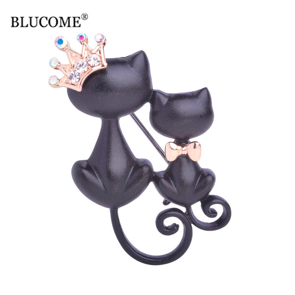 Black Mother Daughter Cats Brooches