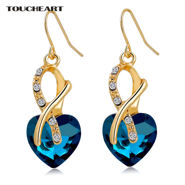 Luxury AAA CZ Crystal Heart Drop Earrings
