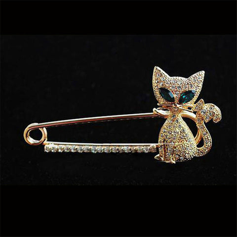 Rhinestones Green-Eyes Cat Brooch