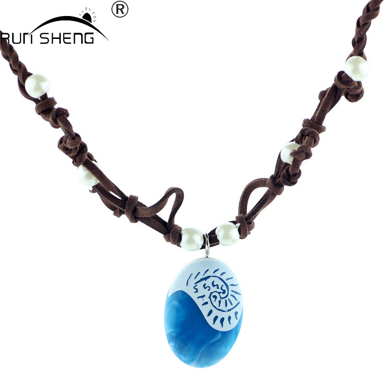 Ocean Rope Chain Blue Stone Necklaces