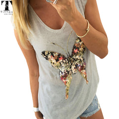 3D Sequined Butterfly Tops