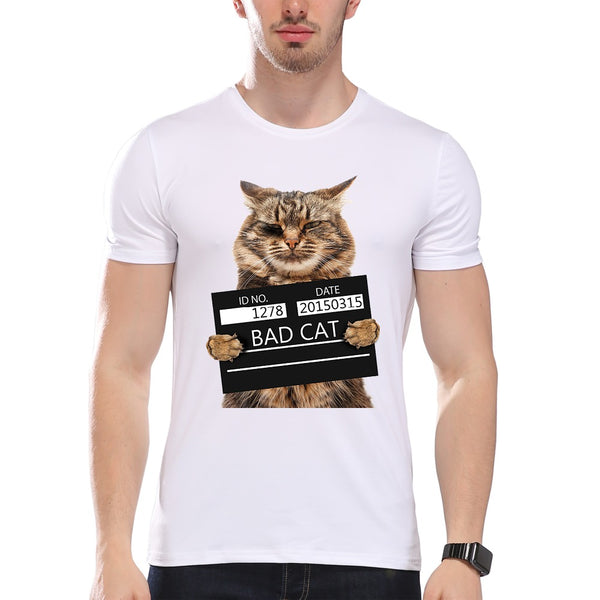 Men's Bad Cat Print Cool T-Shirt