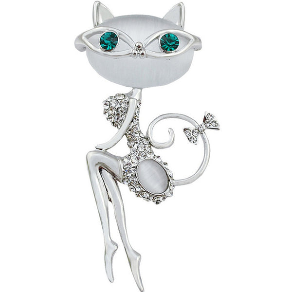 Opal And Rhinestone Cat Brooches