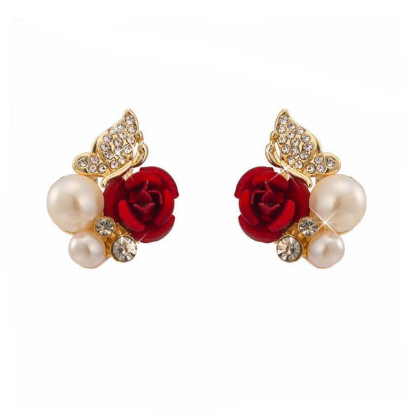Red Rose Butterfly Stud Earrings
