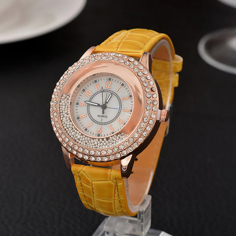 Luxury Leather Crystal Stone Watches