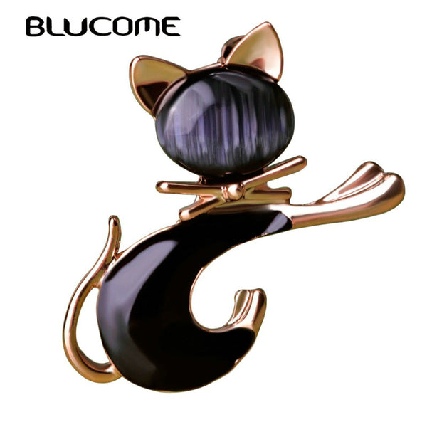 Cute Black Tie Cat Brooch