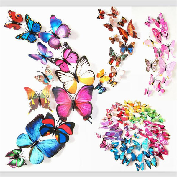12pcs/lot 3D PVC Butterflies DIY Wall Sticker