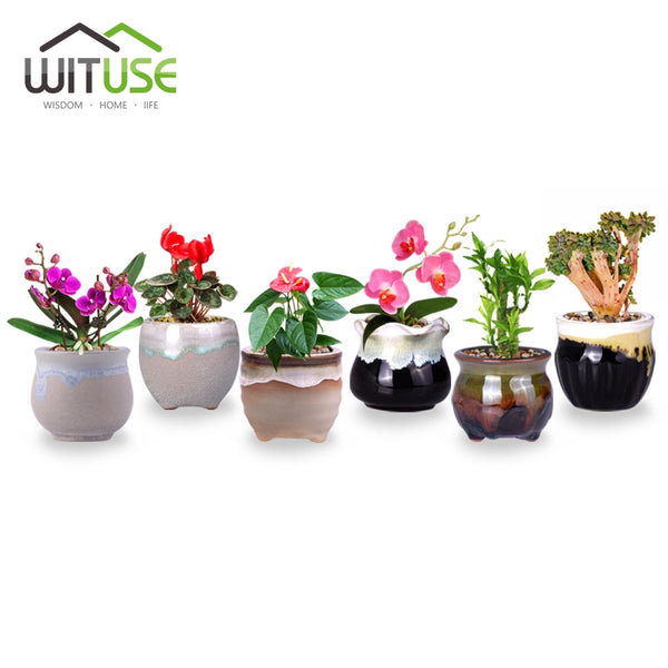 WITUSE Promotion! Flower Pots Decor Small Ceramic Planters Pot Flowing Glazed Home Garden Desktop Succulent Plant Pot Flowerpot