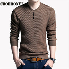 Solid Color Pullover Men V Neck Sweater