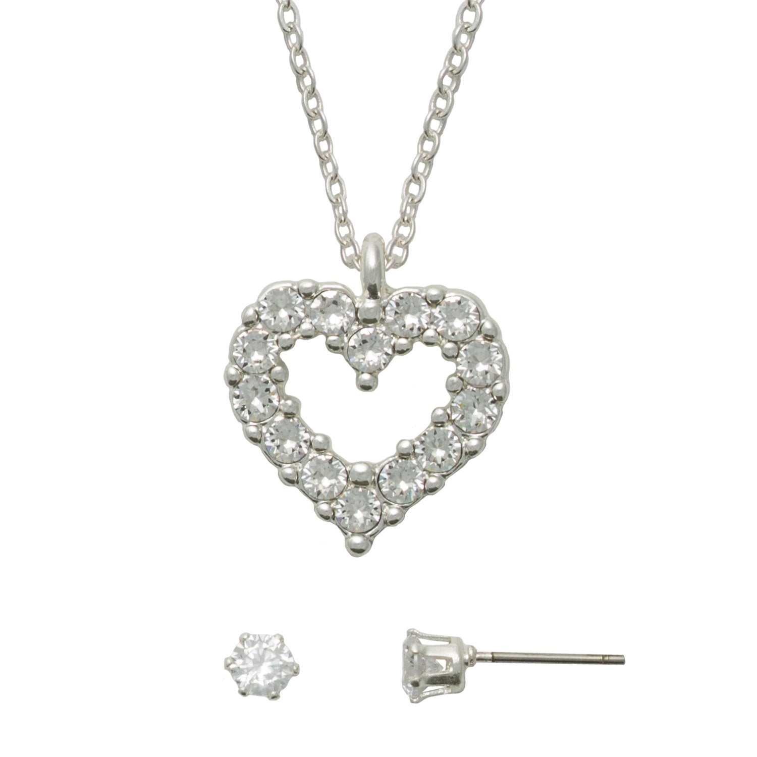 7b0110e7f Clear Swarovski Heart Necklace and Earring Set - Essential Designs ...
