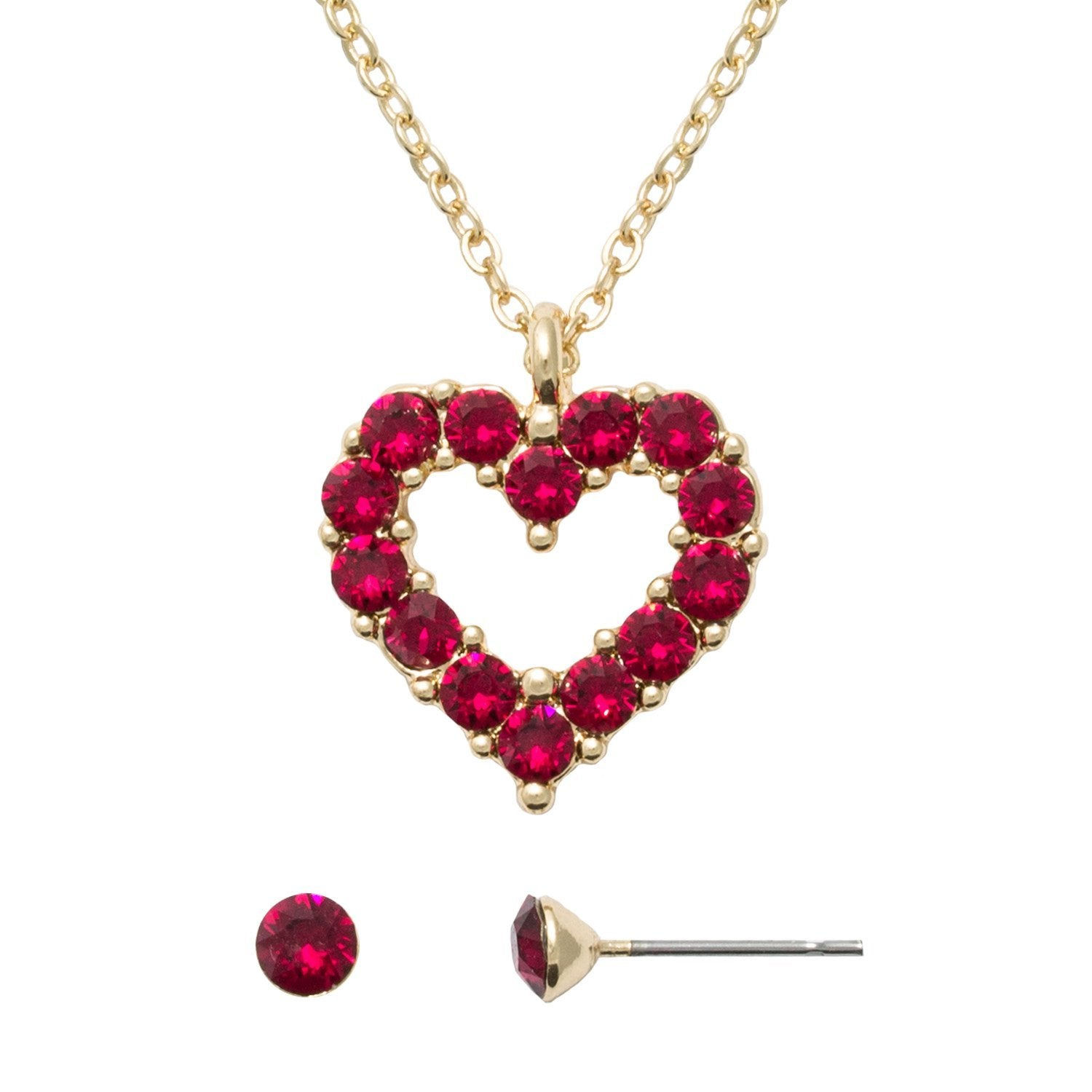 4368c8041 Red Swarovski Heart Necklace and Earring Set - Essential Designs Jewelry
