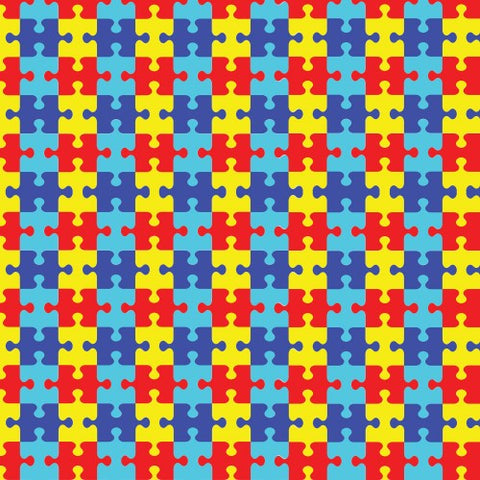 "Printed HTV - Autism Puzzle Print - 12"" x 14"" Sheet"