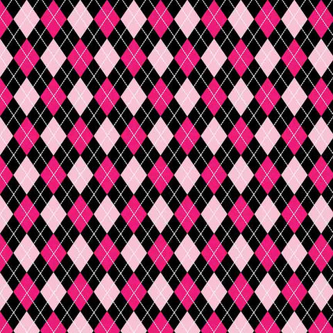 "Printed HTV - Argyle-Pink-Black One - 12"" x 14"" Sheet"