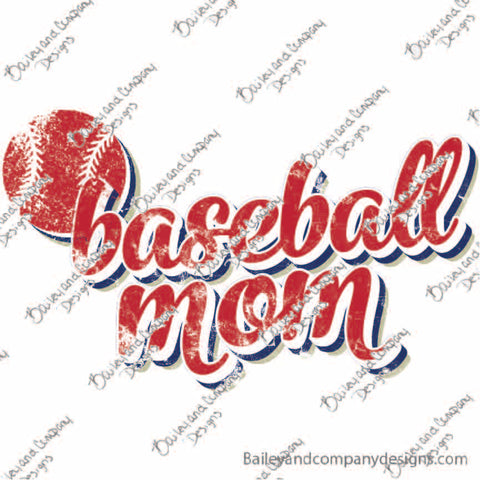 Baseball Mom Digital Design - PNG File