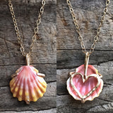 Custom Heart prong Sunrise shell necklace