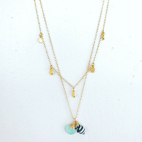 Gold disk charm necklace