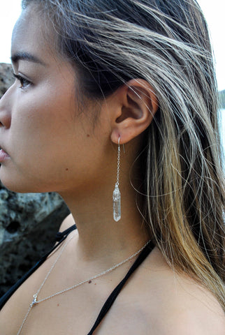 Crystal quartz dangle earrings