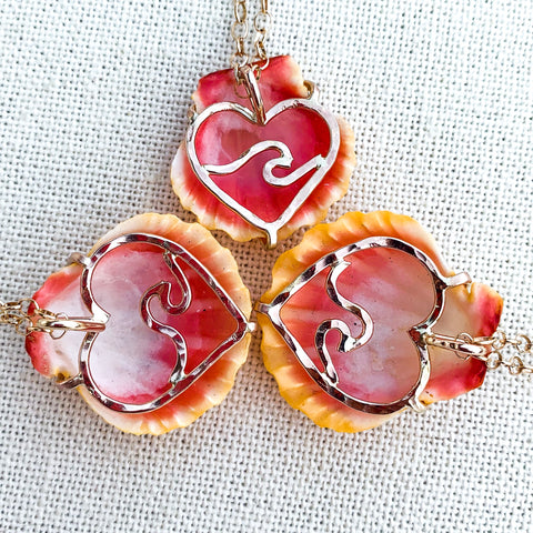 READY TO SHIP: Heart prong sunrise shell necklace