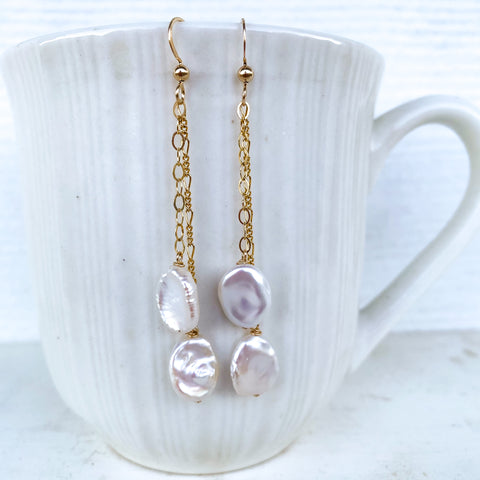 Double drop pearl dangles