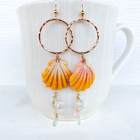 Pastel sunrise shell earrings