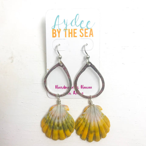 Sunrise shell tear drop earrings