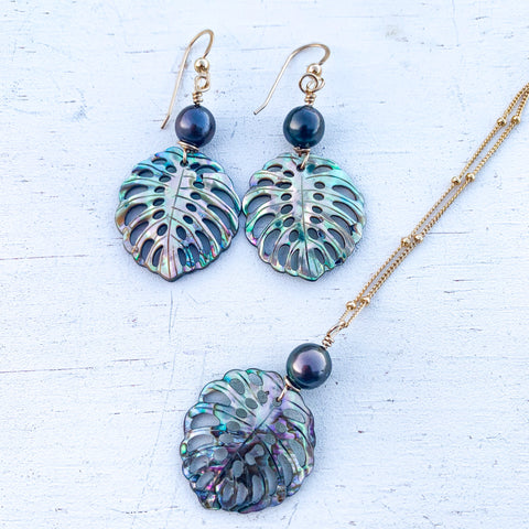Abalone monstera leaf set