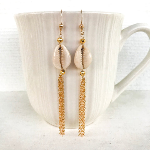 Cowrie shell tassel earrings