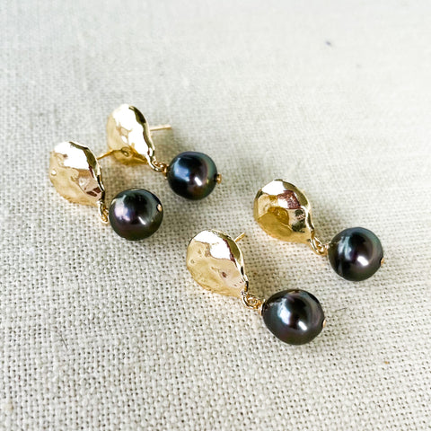Coin pearl drop stud earrings