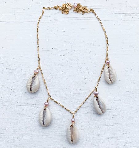 Cowrie shell drop necklace