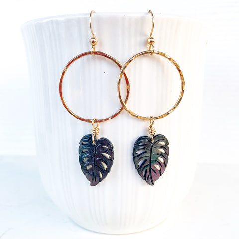Monstera drop hoop earrings