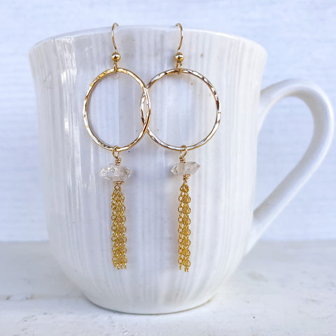 Herkimer tassel earrings